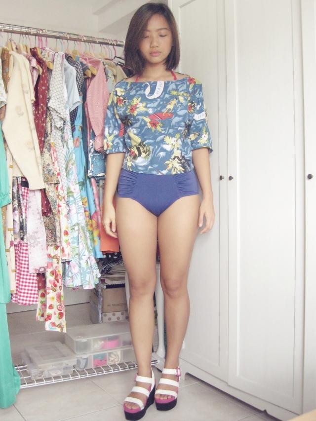 Wearing: Handmade Hawaiian Boat Neck top, ASOS high-waisted bikini bottom