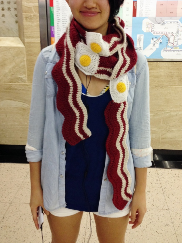 Bacon and eggs scarf, very NSFW, innit?