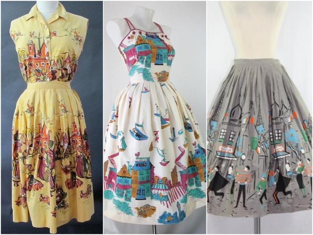 1950s novelty print skirts