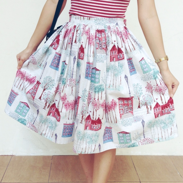 Take A Holiday 50s Inspired Gathered & Flared Skirt