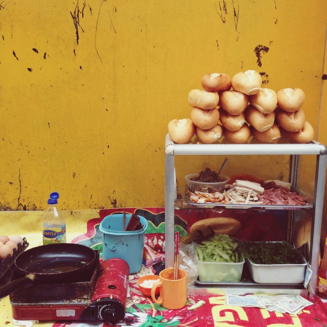 Street banh mi stall, Hanoi, Vietnam