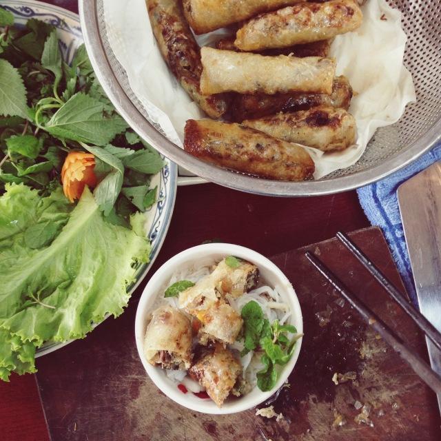 Hanoi springrolls freshly fried in a cooking class, Hanoi, Vietnam