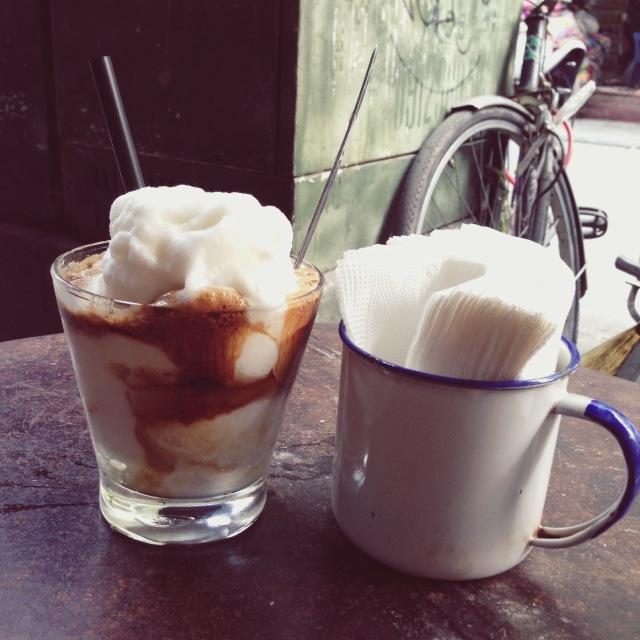 Coconut coffee smoothie in Cong Caphe, Hanoi, Vietnam