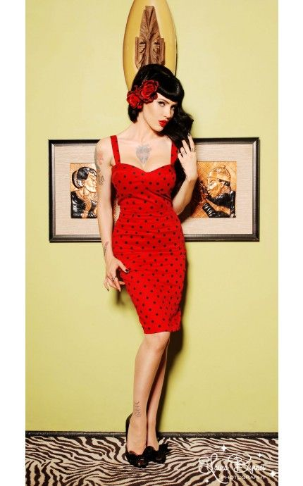 Grease Rizzo Red Polka Dot Rockabilly Wiggle Dress