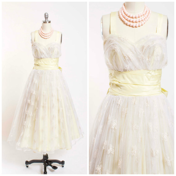 Grease Frenchy's 1950s Yellow Tulle Prom Dress