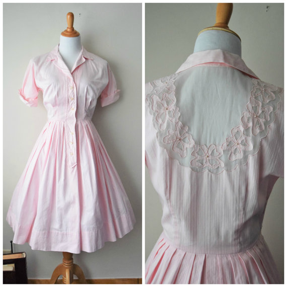 vintage 1950s powder pink shirtdress