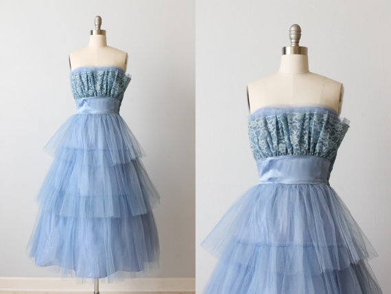 Grease 1950s Blue Tulle Prom Dress