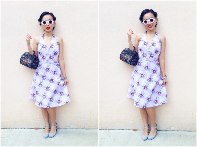 1940s inspired style Retro Rose Floral Dress