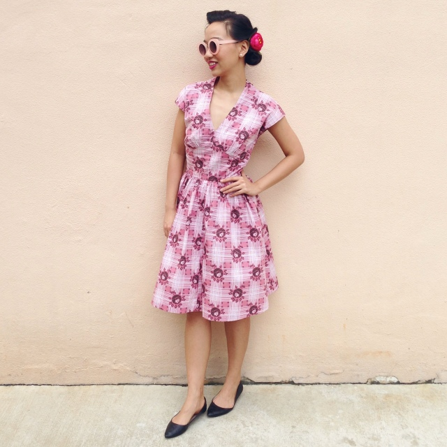 1940's vintage style retro rosie floral dress in pink