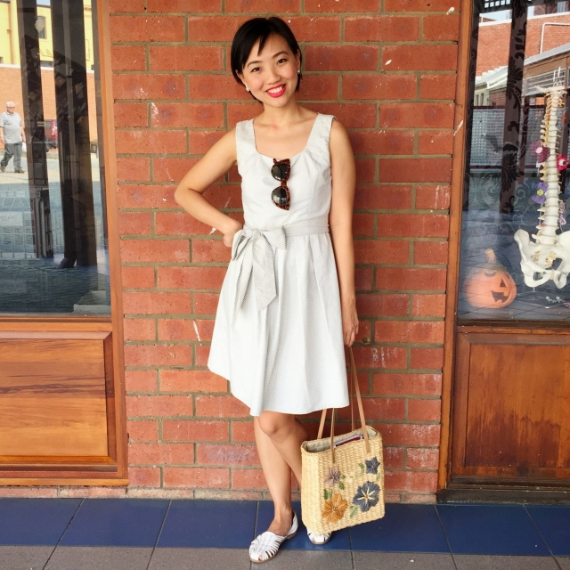 Wearing: Me-made gingham dress (here), thrifted woven straw bag, new sunnies from Freo Markets