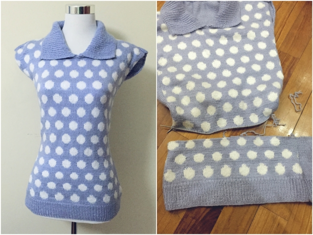 Vintage 1950s inspired polka dot sweater