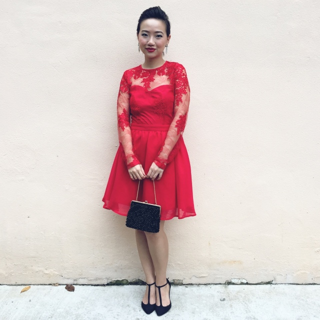 Missguided ASOS Red Lace Dress 1950s Style