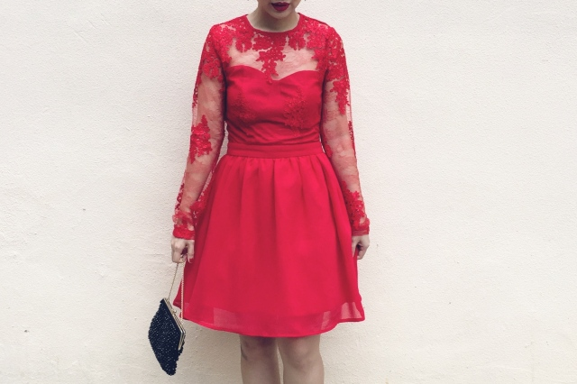 Missguided Red Lace Dress 1950s Style