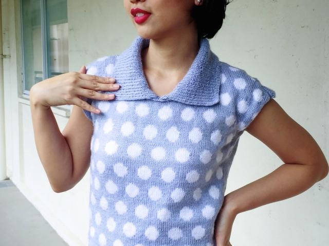 Vintage 1950s inspired polka dot sweater