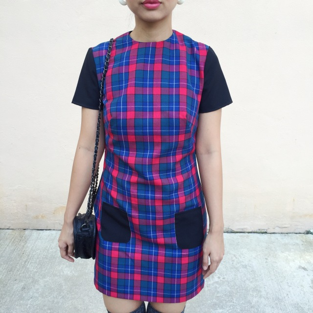 vintage 1960s inspired plaid shift dress sewing dressmaking