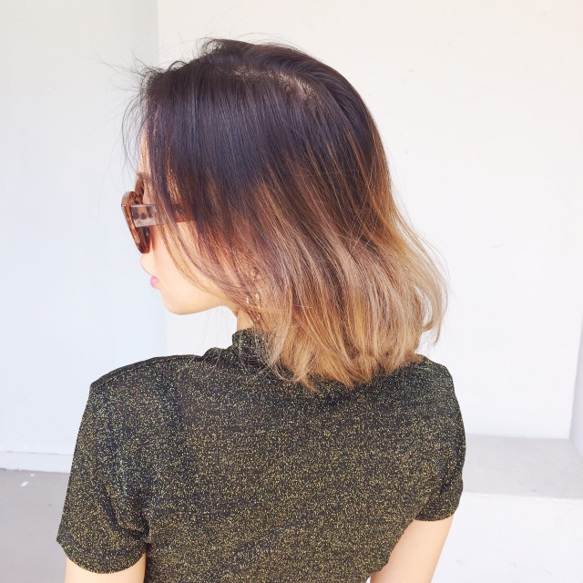gwenstella asian balayage ombre brown gold hair dye