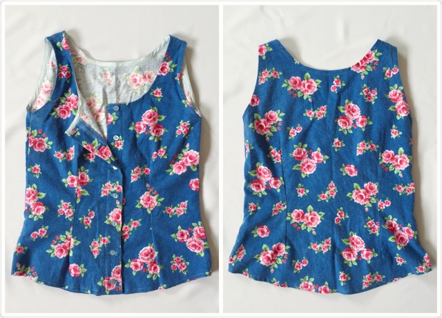 Sewing Retro Blue Floral Pyjamas