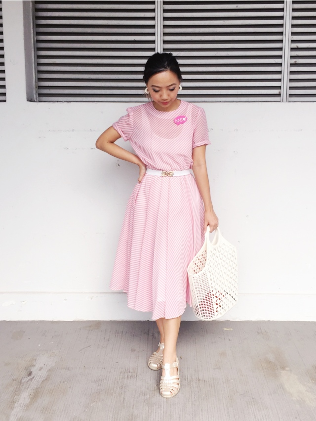 Gwenstellamade VOTM 80s does 50s pink swing dress