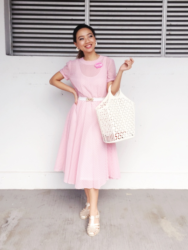 Gwenstellamade VOTM 80s does 50s pink swing dress