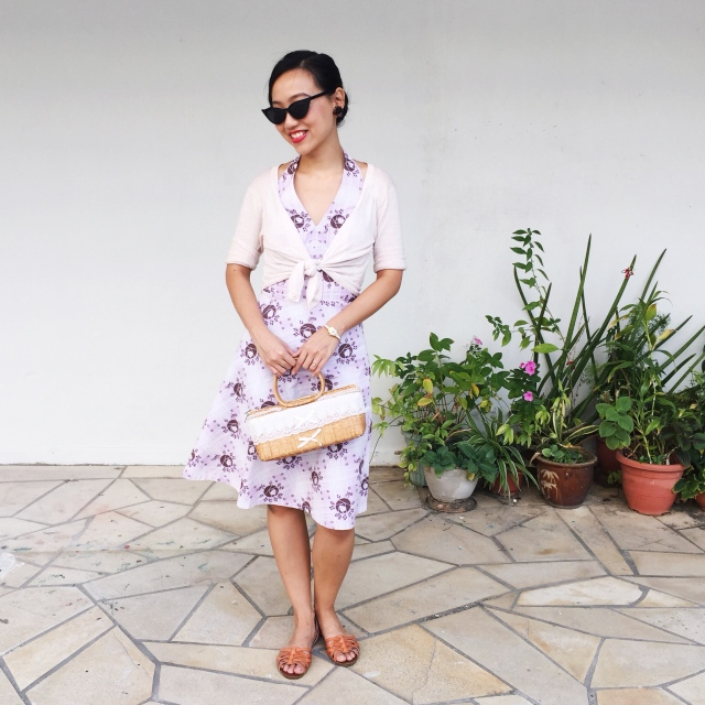 1940's style Retro Rose Floral Dress (Purple version without sleeves)